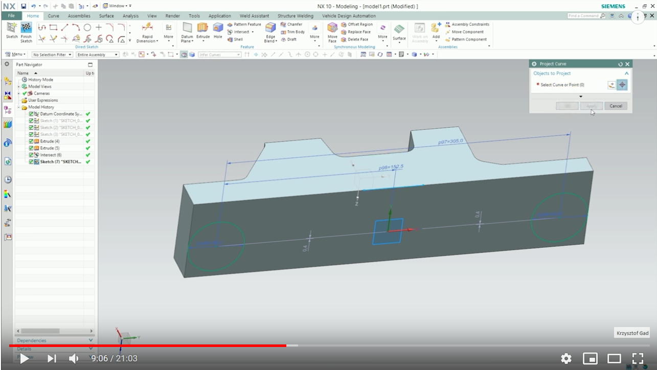 Siemens NX Part Design - Basic Features (Part 2)